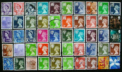 50 Different Great Britain Qe Ii Regional Definitive Used Stamps: