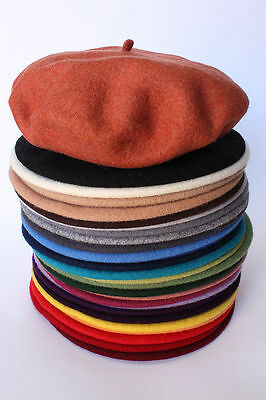 100% Wool BERET antenna HandMade in POLAND french hat cap TOP quality 29 colors!
