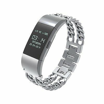 Wearlizer Metal Watch Bands Replacement Strap for Fitbit Charge 2 Silver Premium