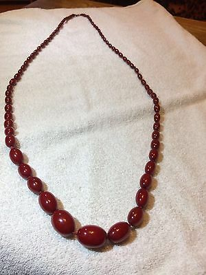 CHERRY RED AMBER BAKELITE 1920/1930 long Art Deco Vintage Beads necklace 76gm