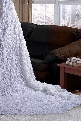 Decoroma Blanket  Bedspread Stretchable Bed Throw Rug White Ruffled Couch