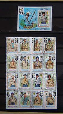 Manama 1971 Scouts set of 16 in sheet VFU + Miniature Sheet VFU