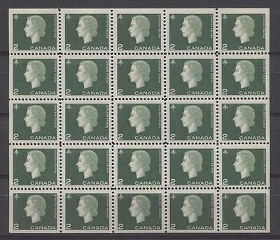 Canada #402a 1963 2c Green Cameo Issue Miniature Pane of 25 DF Paper VF-80 NH