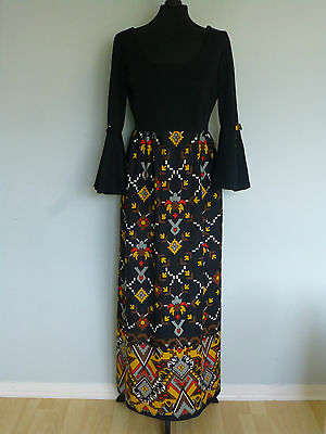 Original Vintage 70s Maxi Dress UK 12/14 Black Graphic Print Big Split Sleeves