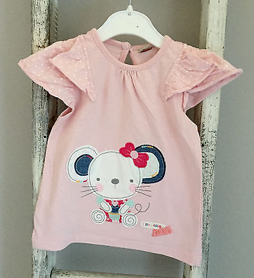 Baby Girl Top Size 12-18 Months Pink Mouse Heart T-Shirt Holiday