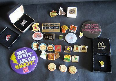 McDonalds & Hardees Pin Collection Lot - Including Rare Gold Filled Service Pin