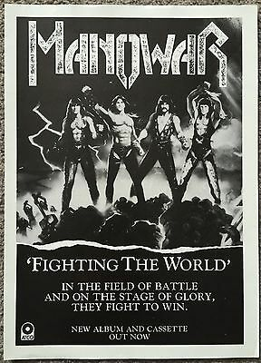 MANOWAR - FIGHTING THE WORLD 1987 full page press ad