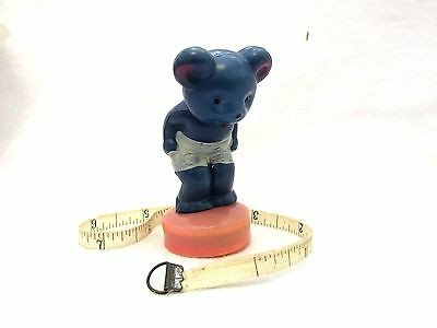 Vintage Celluloid Figural Tape Measure Blue Bear With White Shorts