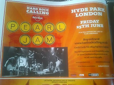 Pearl Jam 2010 Hyde Park London Advert Poster Hard Rock Calling 1/2 Page Size