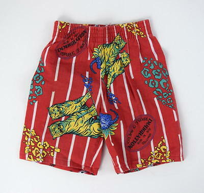 Vtg 70s Retro Red & White Stripe Animal Tiger Shorts Kids Toddlers Boys Sz 4 T