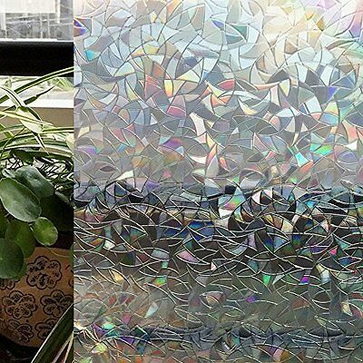 Stained Glass Panel Window Film No Glue 3D Static Decorative 3X6.5 Ft UV Protect
