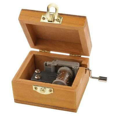 Wooden Hand-cranked Wind Up Music Decorative Box Toy Gift Castle in the Sky