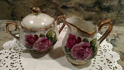 Small Vintage Ucagco Mother Of Pearl Ceramic Creamer With Sugar Bowl