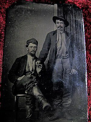 Tintype: Two working Men gently Holding Hands~ Gay Interest, Western?