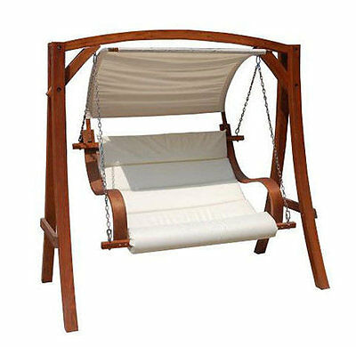 Outdoor Swing Seat Wooden Garden Patio Hammock White Bench Canopy Hanging Seats