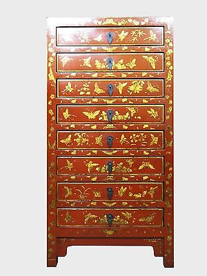 A Chinese Red Lacquer Narrow Storage/Document Storage Cabinet