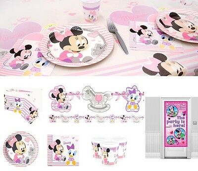 Baby Minnie Mouse Party Supplies Tableware Birthday Decorations Plates Napkins