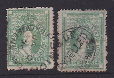 Queensland Rare 1866-72 1/- Green Qv Chalon Duty  Sg F12/f18 Cv$260 (Cm39)