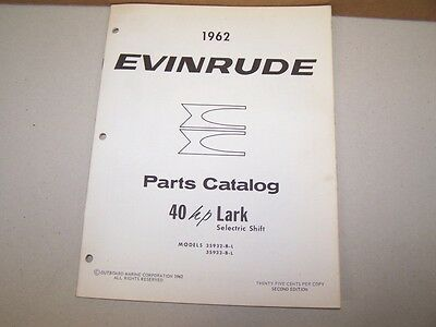 1962 Evinrude Outboard Factory Parts List 40hp Lark Selectric Shift Boat Motor