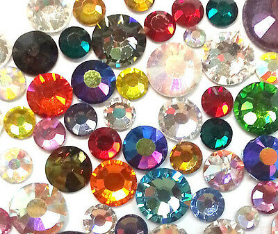100 MIXED COLOURS Swarovski Crystals Foiled Flatback 2058 Non Hot Fix MIX SIZES