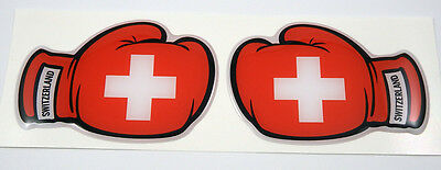 2 Boxing Gloves Swiss Switzerland Flag Domed Decal Emblem car stickers 3.5""