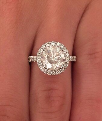 3.00 Ct Round D/si1 Diamond Solitaire Engagement Ring 14K White Gold Enhanced