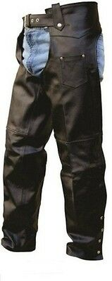 Men's Leather Motorcycle Basic Riding Chaps - Allstate Leather Cowhide - AL2406