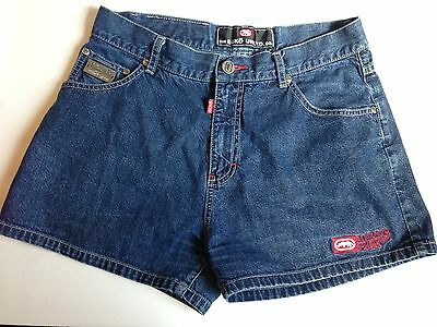 "Vintage Ecko Blue Denim Jean Shorts - Size 9 Juniors - 28"" High Waist - 1990's"