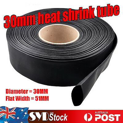 2Meter x 30MM Black Heat Shrink Sleeving Wrap Tubing Electrical Insulation Wire