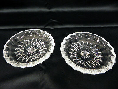 Vintage Cut Clear Crystal Glass Ashtrays Trinket Dishes Lot Of 2 Starburst