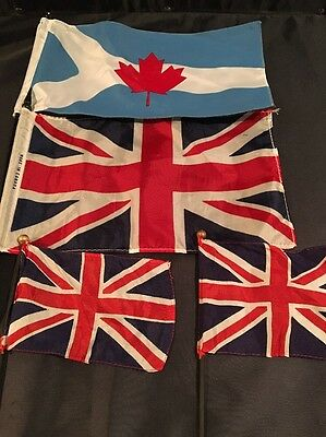 Vintage Small Country Flag Lot Rare Canadian Maple Flag Blue & 3 Union Jack