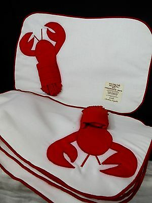 Set of 6 Linen Lobster Placemats w/ Napkins Red & white Table Protector Backing