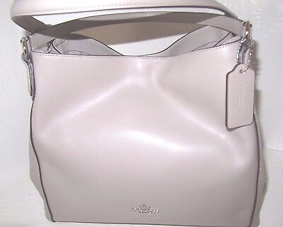 New Coach 55529 Mixed Leather Edie Grey Birch Shoulder Tote Bag  NWT $350
