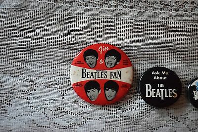 Lot Of 3 Vintage Beatles Pins Including 1964 Im A Official Beatles Fan Rare