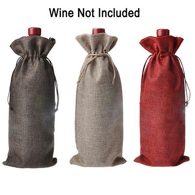 1x Wedding Christmas Linen Wine Bottle Cover Gift Bag Party Table Decor 16*36cm