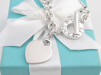 Authentic Tiffany & Co Heart Silver Toggle Bracelet Box Pouch $350