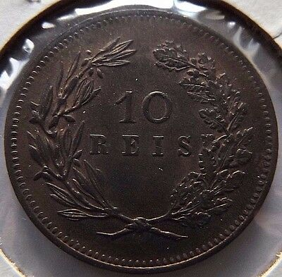 1892 Portugal10 Reis! Uncirculated! Km# 532 Unc $27.50!