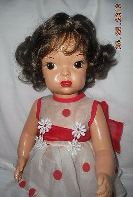 Terri Lee 1950's Painted Plastic Homemade Red Coin Dress New Wig Shoes Socks