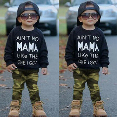 2PCS Toddler Baby Kids Boy Clothes Tops T-shirt Camo Pants Outfits Set Tracksuit