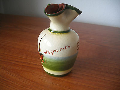 """""""Weymouth""""(Torquay Mottoware) Bud Vase """"If ye cant be aisy be as aisy as ye can"""""""