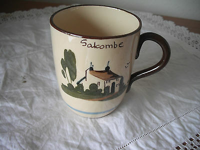 """SALCOMBE(Devon) Beaker with Motto""""Masters two will never do"""""""