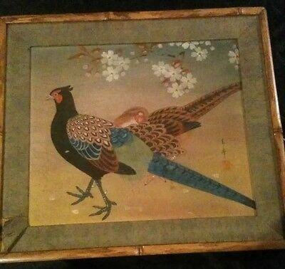 Vintage Antique Painting on silk   Asian Japanese Bird and flowers Framed