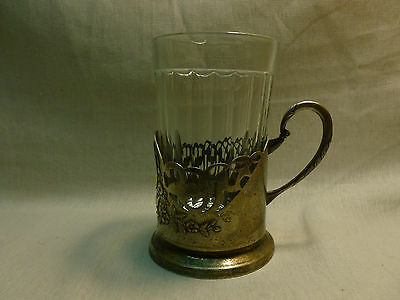 1960's Old Russian Soviet Tea Glass Holder + Glass USSR Nice Look