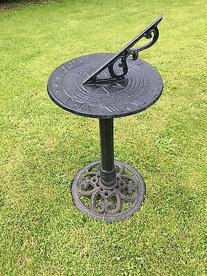 Vintage Aluminium Metal Sundial On Cast Iron Plinth Garden Ornament