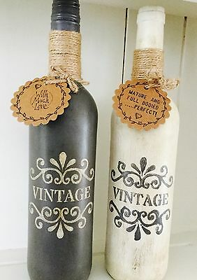 Shabby Chic Vintage Painted Wine Bottle In Grey/cream Decoration, Candle Holder