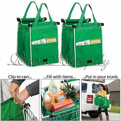 Reusable Ecofriendly Grocery Shopping Grab Bags Clip to Cart Trolley