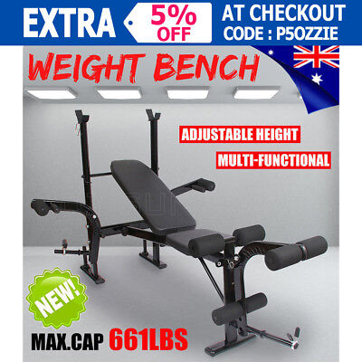 OZ Multi-station Weight Bench Home Gym Fitness Exercise Leg Curl Press Equipment