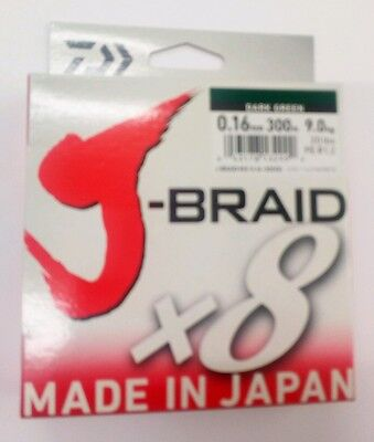 NEW DAIWA J-BRAID X8 FISHING LINE 300m SPOOL .0.16mm  20lbs  9kg