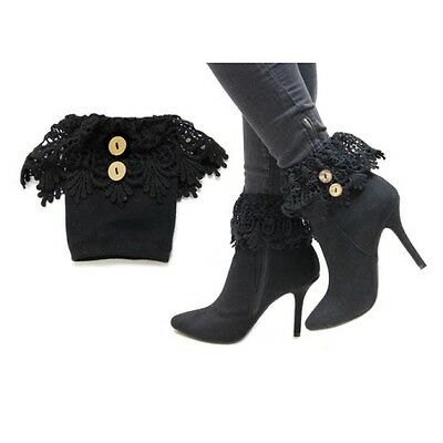 Black Fabric Boot Toppers with Buttons
