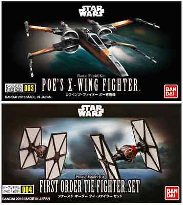 2 Star Wars Mini Model Kits Poe's X Wing Fghter and First Order Tie Fighter Set
